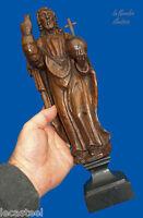 beau christ en bois sculpté tenant le globe crucifère 18 - 19ème - religion