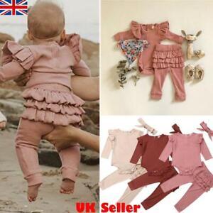 Newborn Baby Girls Clothes Romper Jumpsuit Ruffle Pants Headband 3Pcs Outfit Set