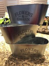 Brand New Galvanized Tin Flowers And Garden Planter Flower Pot Set of 3