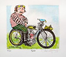 Charles Bragg THE CYCLIST Hand Signed Color Limited Edition Lithograph Art