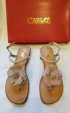 Carlos Santana Teagan Blush Tan Leather Thong Low Wedge Heel Sandal Shoe 9 $60