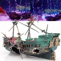24*12cm Aquarium Ornament Boat Large Plactic Sunk Pirate Ship Fish Tank Decor US