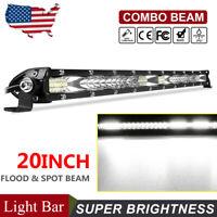 20in LED Work Light Bar Slim Flood Spot Combo Offroad Truck SUV ATV Fog Lamp US