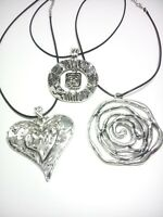 Antik Silber Anhänger groß Modern Schmuck Mode Fashion Herz Blume Spirale Rune