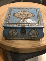 Antique Vintage Advertising Tin Biscuits Embossed Harvest W/ Functioning Latch