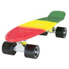 "Land Surfer Cruiser Skate 22"" 3 TONOS RASTA TABLA NEGRO RUEDAS"