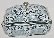 VTG Blue and Gray Porcelain Covered Bowl Dish - Metal Finial - 8 3/4""