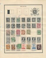 BELGIUM: 230 STAMPS ON VINTAGE ALBUM PAGES AND HOMEMADE STOCK SHEETS. MOST USED