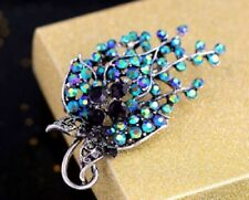 DARK BLUE CZ & PURPLE DIAMANTE RHINESTONE CRYSTALS LEAF BROOCH PIN
