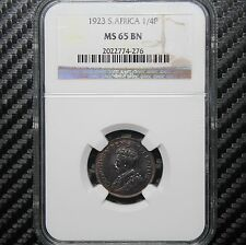 1923 South Africa 1/4 Penny NGC MS65 BN - Farthing (74276)