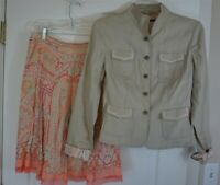 Elie Tahari Linen Skirt Suit Beige and Coral Mint Green Paisley Size 6