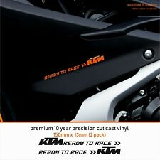KTM READY TO RACE 10 Year Cast Vinyl Decals Stickers x 2-Premium ANY 1 COLOUR