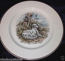 "VILLEROY & BOCH FONTAINEBLEAU SALAD PLATE 8 1/4"" WHITE DOG SITTING BROWN TRIM 1"