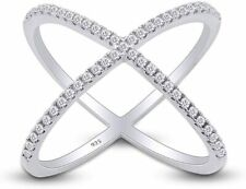 Fashion Ring in 14k Gold Over Silver 0.64 Ct Cubic Zirconia Criss Cross Single X