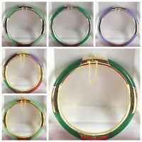 2019 Hot Multi-Color /Green/ Purple Jade 18KGP Clasp Bangle Bracelet