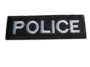 2x POLICE BLACK/WHITE FANCY DRESS IRON SEW ON PATCH BADGE EMBLEM TSHIRT UKSELLER