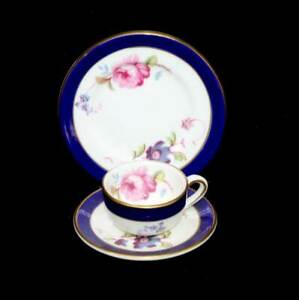 Vintage Coalport Titania miniature teacup saucer & plate trio