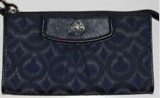 New Coach Madison Wallet Zip Slim Signature Clutch Leather Black Navy Wristlet
