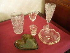 LOT OF 6 PC DEPRESSION GLASS -DISHES/SHOTGLASS/GLASSES- CLEAR & GREEN