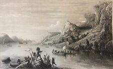 Jacques Cartier remontant le fleuve Saint Laurent Canada  d'après Gudin 1861
