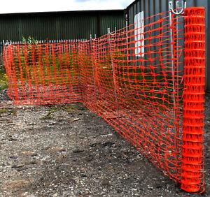 50m ORANGE TEMPORARY PLASTIC BARRIER FENCE MESH & ZINC STEEL 1.2m FENCING PINS