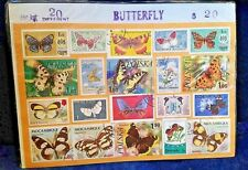 Vintage Postage Stamps 20 different BUTTERFLY  sealed package