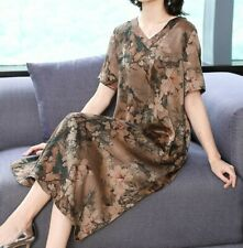 Women Fashion V Neck Silk Loose Fit Short Sleeve Dress Knee Length Casual Gown L