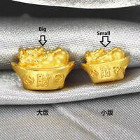 New Pure 24K Yellow Gold Pendant 3D Craft Pixiu Yuanbao Pendant (Big or Small)