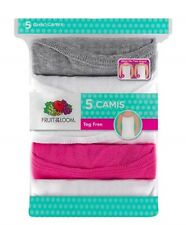 "Fruit of the Loom® Girls' 5pk Assorted Camis ""100% Cotton & 2 Ways Layering"""
