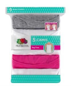 """Fruit of the Loom® Girls' 5pk Assorted Camis """"100% Cotton & 2 Ways Layering"""""""