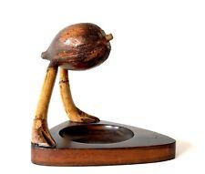 Art Deco YZ Dunhill Nut Bird Wood Ashtray Match Striker Henry Howell - A/F