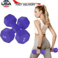 A Pair Dumbbell  8/10/12 Pound Barbell Neoprene Coated Weights Lifting Purple