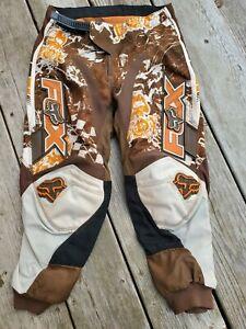 FOX RACING - BOYS SIZE 8/24 - BROWN & ORANGE OFF ROAD RACING PANTS