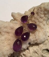 14k solid yellow gold Amethyst Briolette Pendant