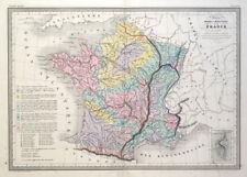 FRANCE GEOLOGICAL MAP, Original Malte Brun, hand coloured antique map c1850
