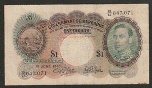 1943 BARBADOS 1 DOLLAR NOTE