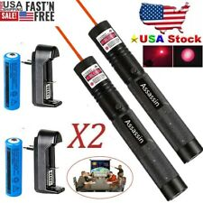 2Pcs 900Miles Red Laser Pointer Pen Focus/Zoom Light Lazer&18650 Battery&Charger