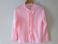 Vintage Pink Faux Pearl Crocheted Cardigan Sweater L