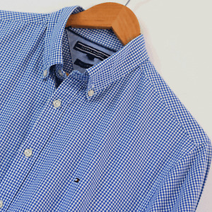 Mens Genuine Tommy Hilfiger Blue White Gingham Long Sleeve Shirt Size L Large