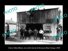 OLD LARGE HISTORIC PHOTO OF CHERRY VALLEY ILLINOIS, THE G/S MOTOR GARAGE c1920