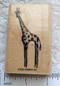 "Stipple Giraffe Stampin' Up! Rubber Stamp 3""x2"" Retired dated 2003"