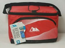 Arctic Zone Personal Cooler Bag 6 Can Lunch Bag Red Black Adjustable Straps