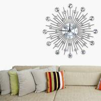 Sparkling Bling Metallic DIY Flower-Shaped Wall Clock for Living Room Office