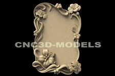 3D STL Model for CNC Router Carving Artcam Aspire Frame Flowers Picture D29