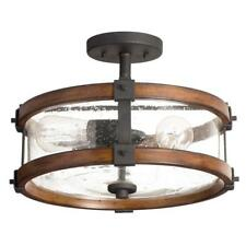 "Kichler Barrington 14"" Distressed Wood Glass Semi-Flush Mount Ceiling Light New"