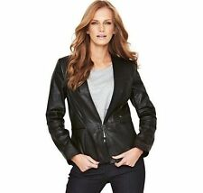 Leather Patternless Blazer Casual Coats & Jackets for Women