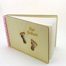 Fotobuch Fotoalbum Alben Babybuch Geburt Taufe aus Holz, rosa gebunden, Füsse