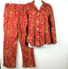 Lauren Ralph Lauren Pajamas Women's XL Red Floral 2 Piece Set Top Pants Paisley