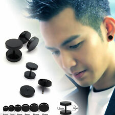 1Pair/2pcs Men's Black Round Barbell Punk Gothic Stainless Steel Stud Earrings