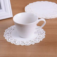 "100pcs 6.5"" Ivory White Lace Round Paper Cake Cookie Doilies Placemat Craft"
